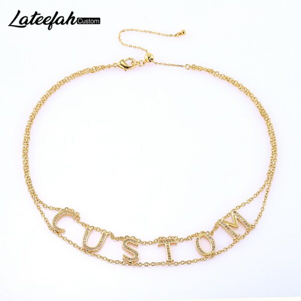 Lateefah Custom Crystal Pendant Accessories for Women Stone Chain Zirconia Necklaces Women Girl Personality Name Necklace