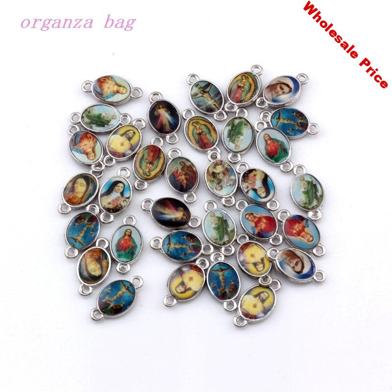 200pcs Double-sided Catholic Religious Church Medals Saints Alloy Connecor DIY Religion Jewelry 7.8x14.8mm F-65