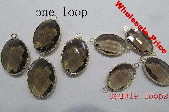 12pcs 6-25mm Topaz Smoky Crystal Glass Pendant oval egg Faceted Double Connector smoky Rock Crystal Version original Rhodium bea