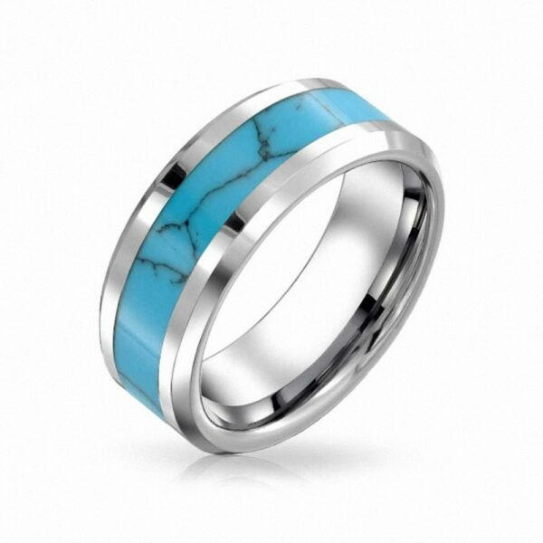 8mm Mens Womens Tungsten Blue Turquoise Inlay Wedding Band Infinity Mens Promise Rings Vintage Jewelry