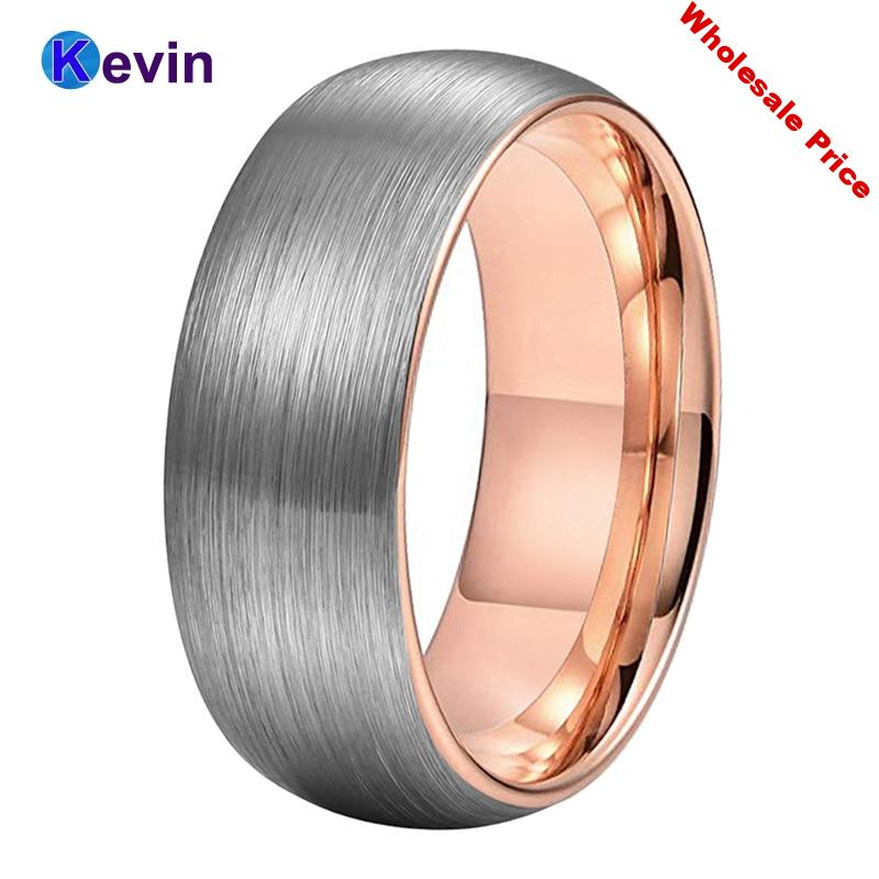 Rose Gold Wedding Band Ring Tungsten Ring Men Women Band 6MM And 8MM Available