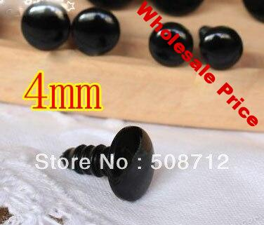 Free shipping!!!!200pairs black color Plastic Safety EYES 4mm Teddies
