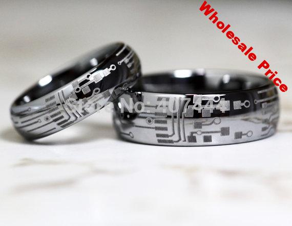Free Shipping YGK JEWELRY Hot Sales 6MM/8MM Silver Dome CIRCUIT BOARD Mens Fashion Tungsten Carbide Wedding Ring