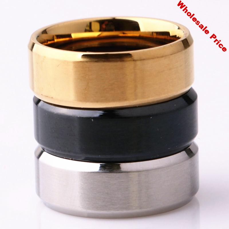 wholesale 50pcs/lot black gold silver color men's 8mm stainless steel fashion jewelry band rings brand new