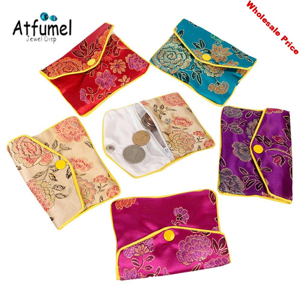 Chinese Brocade Silk Embroidery Zipper Jewelry Storage Pouches Bag Snap Case Satin Coin Card Ring Jewelry Purse Wholesale 10Pcs