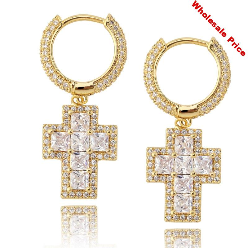 1 Pair Micro Paved AAA Cubic Zirconia Bling Iced Out Cross Pendant Hoop Earrings for Women Men Hip Hop Rapper Jewelry Gold