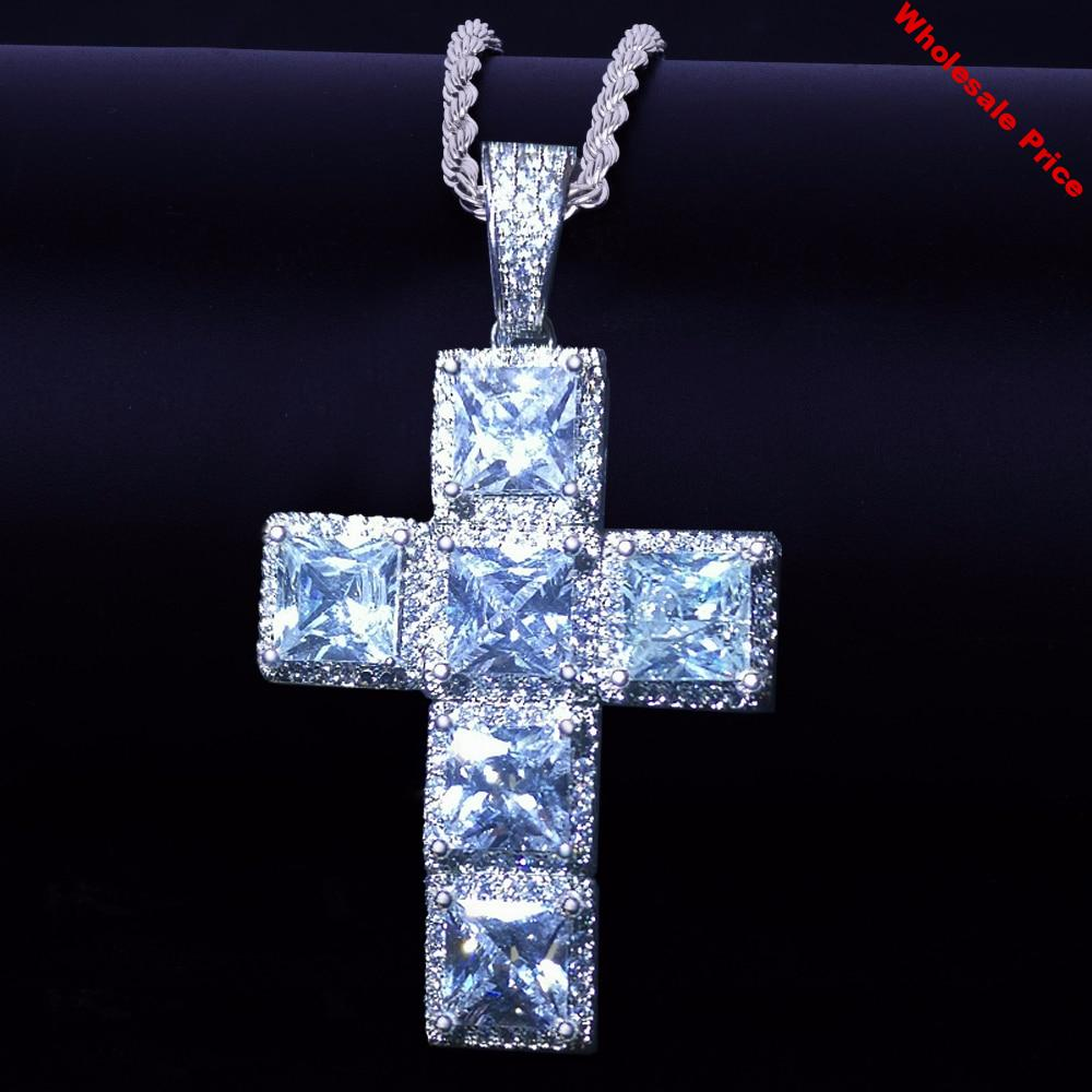 Hip Hop Jewelry Micro Cross Necklace Chains Charm Cubic Zirconia Iced Square Gem Cross Luxury Pendant Drop Shipping