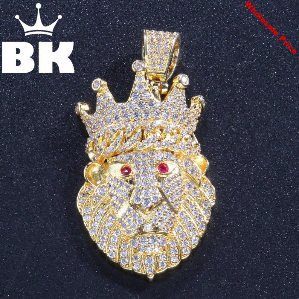 THE BLING KING Custom Crown Lion of the Forest Necklace Hip Hop Full Iced Out Cubic Zirconia gold sliver CZ Stone