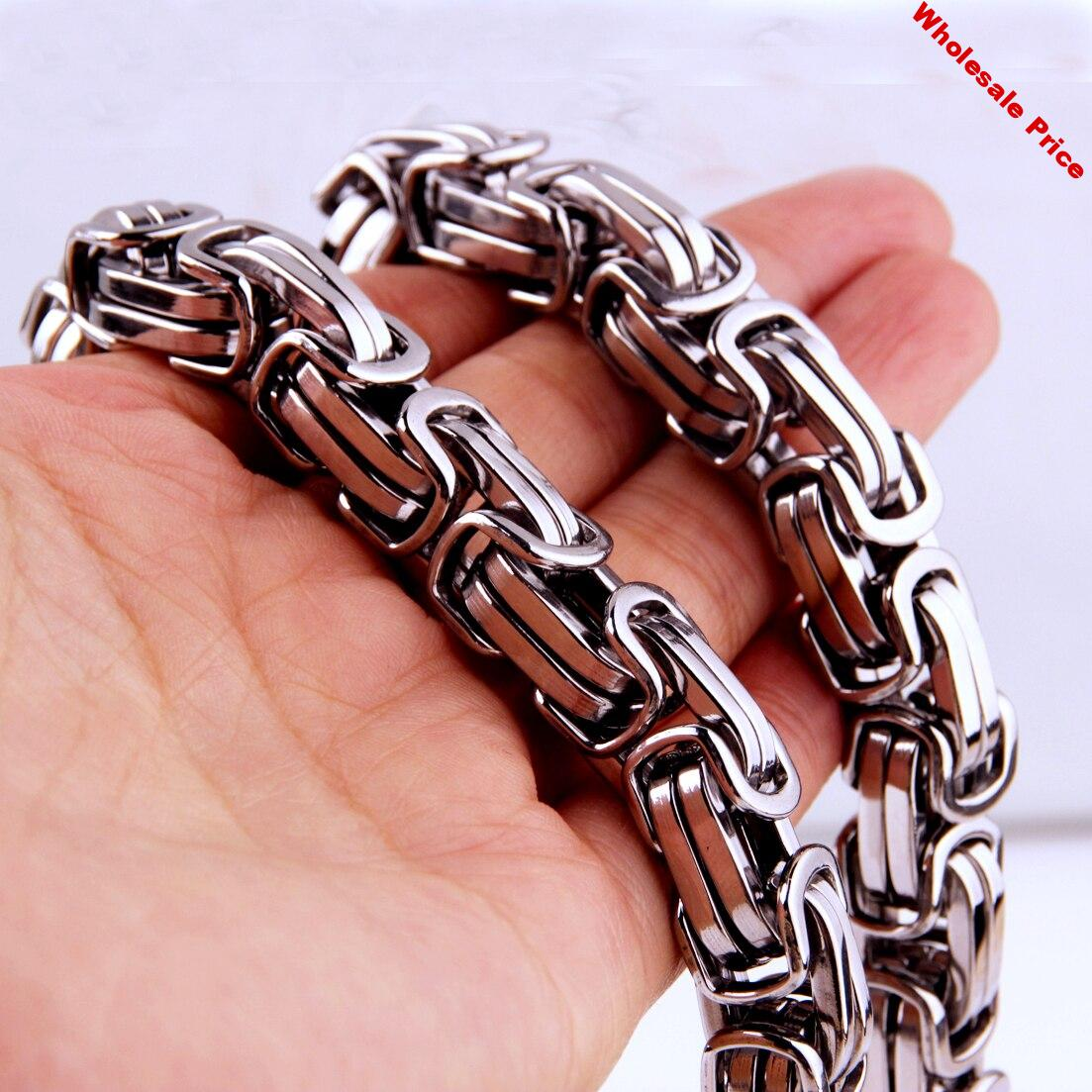 18 inch-40 inch Fashion Heavy Huge Byzantine Link Chain Necklace Jewelry Stainless Steel Necklace MENS Boys Best Gift Jewelry