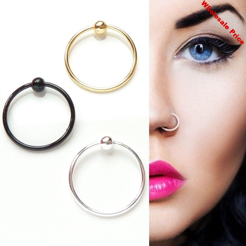 ED 10mm 925 sterling silver Nose ring Fashion Piercing Nose Jewelry High quality nose hoop Pack of  20pcs