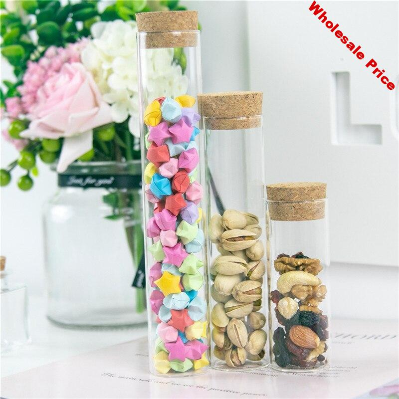6pcs Glass Bottles Jars With Cork Stopper Empty 70ml 110ml 150ml Jars Containers Bottles Corks Jewelry Packaging Box