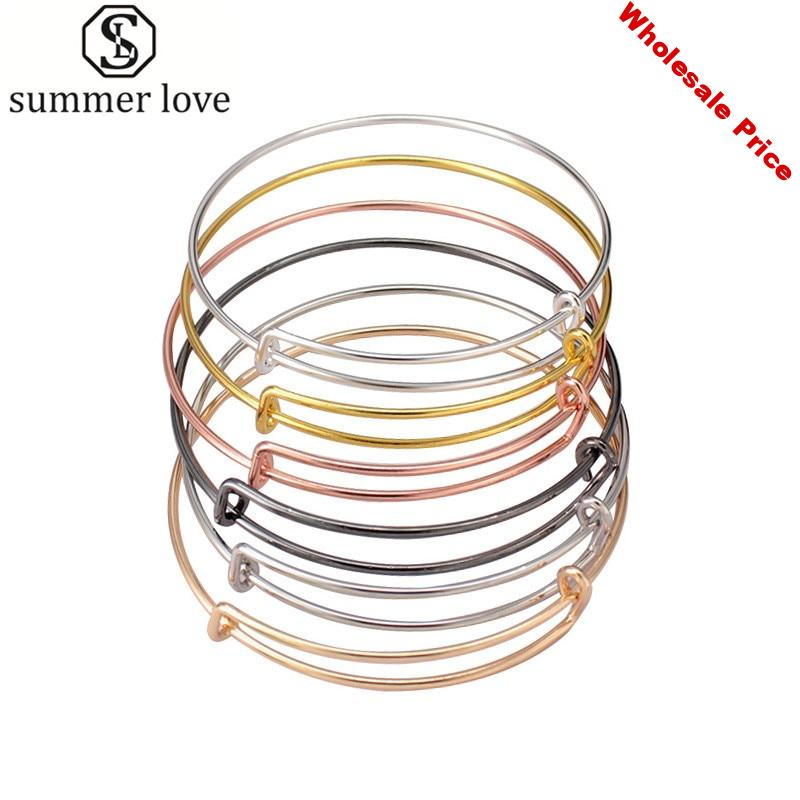 50pcs lot Gold Silver Color Charm Bangle Expandable Wire Bracelet Adjustable Black Bangles for Women Diy Jewelry Making