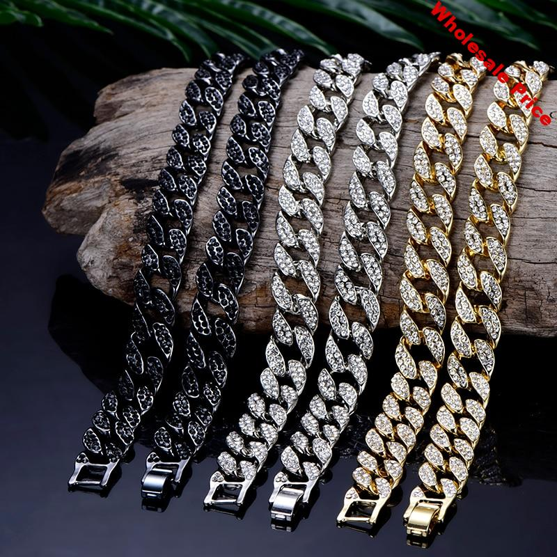 Miami Curb Cuban link Chain Pendent For Men Silver Color Hip Hop Iced Out Paved bling Rhinestone CZ Rapper Necklace Jewelry gift