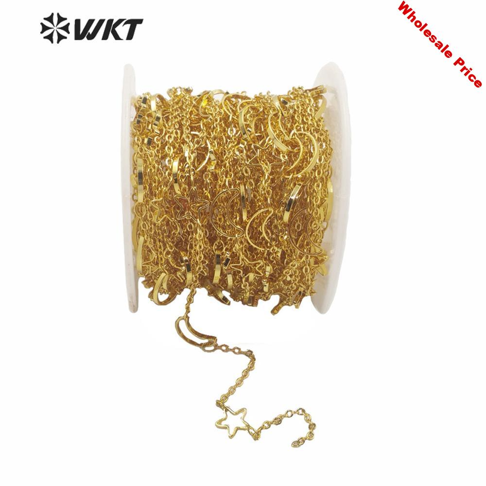 WT-BC140 Fashion gold electroplated moon and sun chain Gorgeous charming brass chain for DIY jewelry design women necklace chain