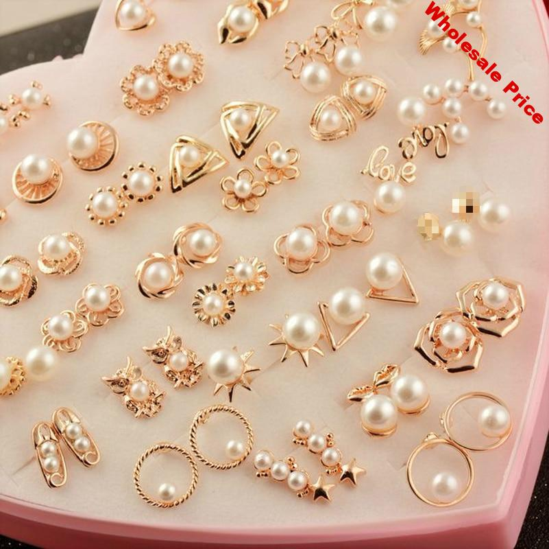 36 Pairs/lot Cute Simulated Pearl Earrings for Women Jewelry Bijoux Brincos Pendientes Mujer Fashion Stud Earrings Wholesale