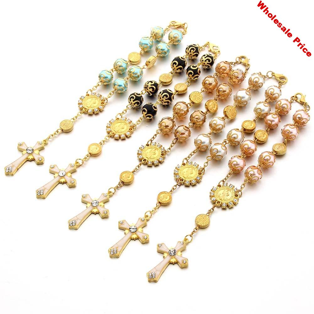 10pcs Top Quality Catholic Rosary Necklace Glass Pearl Beads Decade Rosary Pendent For Women Drilled Cross