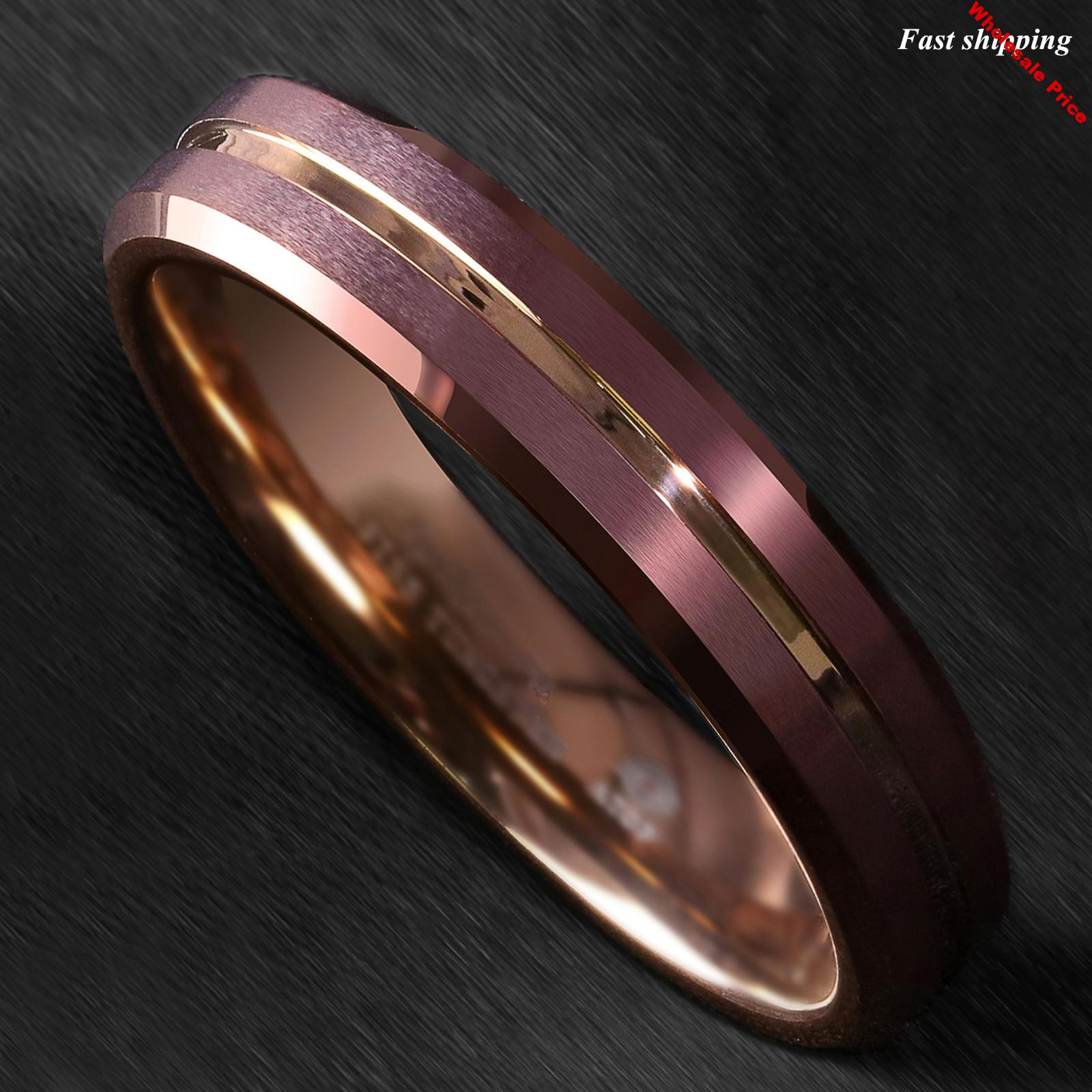 6mm Brushed Brown Tungsten Mens Ring Rose Gold Groove Stripe ATOP Wedding Band