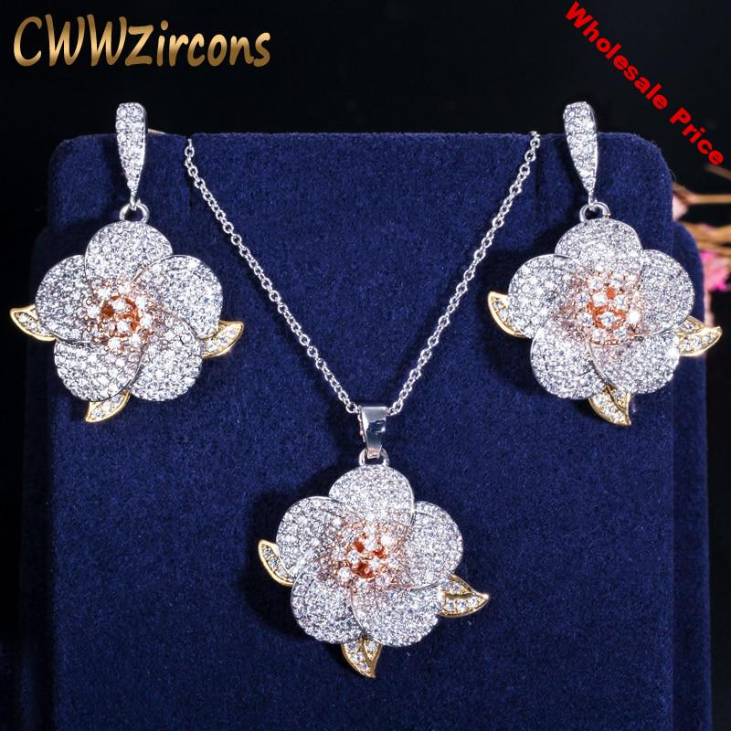 CWWZircons 3 Tone Rose Gold Full Micro Pave Cubic Zirconia Ladies Flower Pendant Necklace and Earrings Jewelry Sets T063