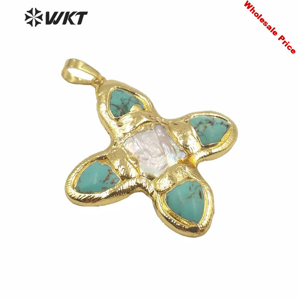 WT-JP216 Amazing design tur quoise and pearl cross pendant fashion gold electroplated pearl cross women pendant for necklace