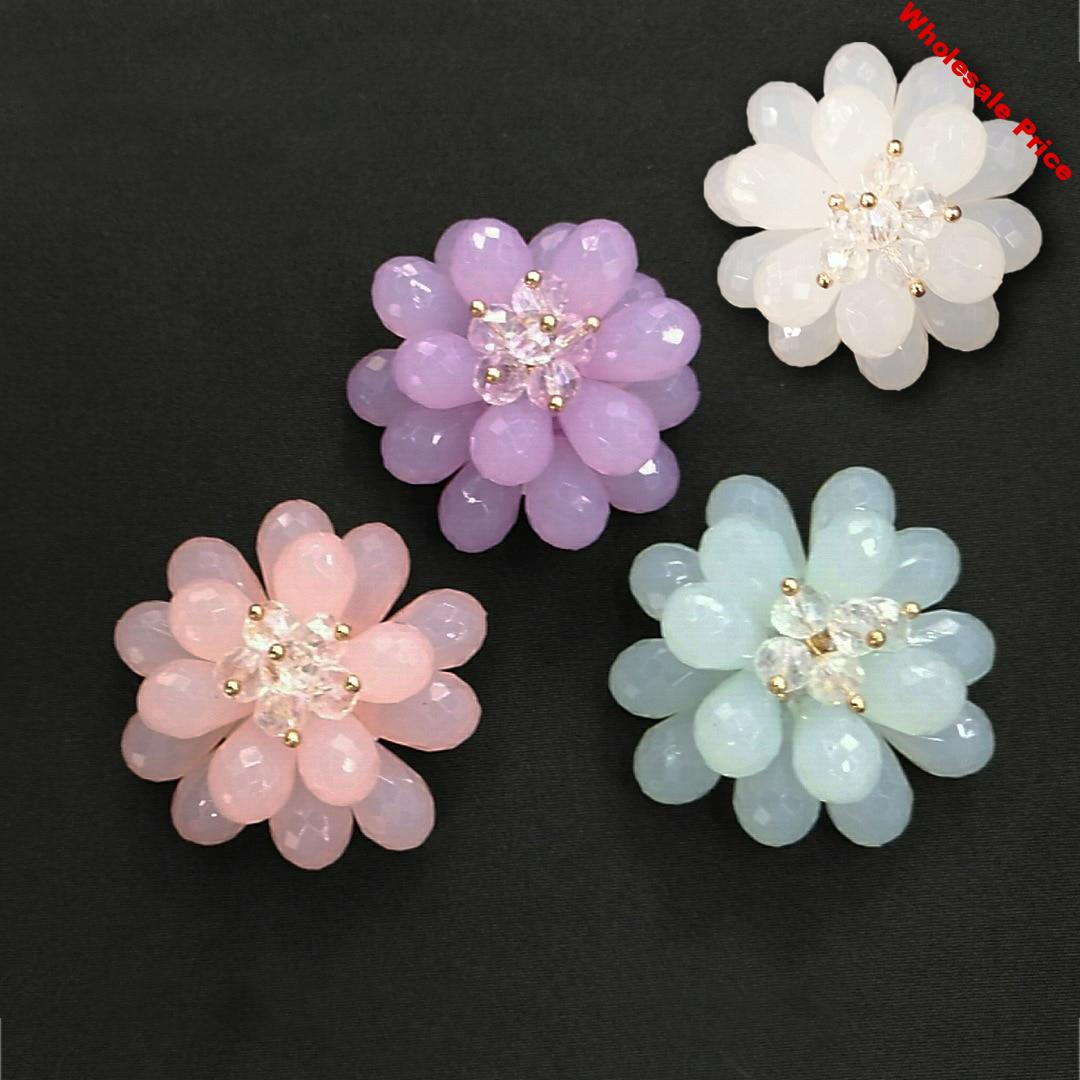 New style 30pcs/lot 36mm color acrylic petal core decoration handmade rounds flowers diy jewelry earring/garment accessory