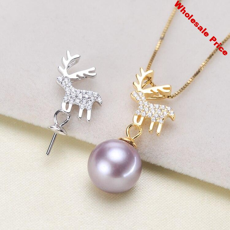Christmas Deer 925 Sterling Silver Pearl Pendant Classical Necklace Pendant Setting Findings Parts Fittings Women Accessories