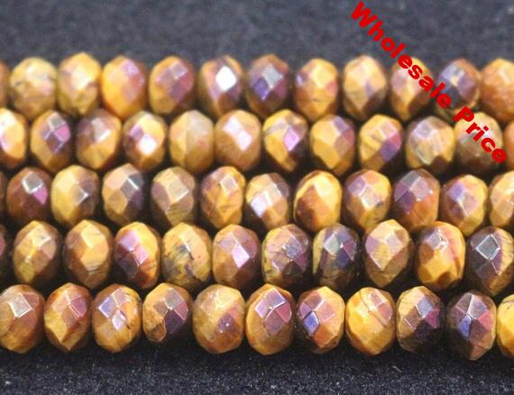 Faceted Yellow Tigereye Rondelle Beads
