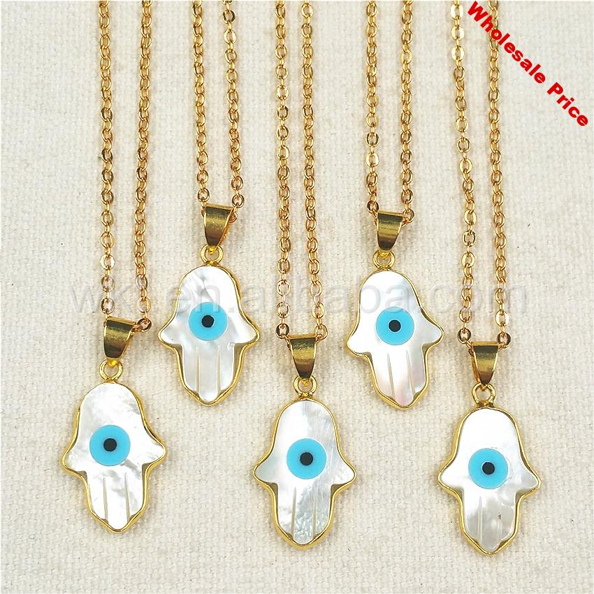 WT-N769 Fashion Shell Hand Pendant Gold Chain Necklace Natural Shell Hande Shape Evil Eye with 24K Gold Electroplated Necklaces