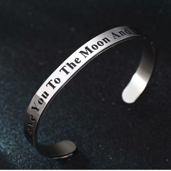 12PC Stainless Steel Open Cuff Bangles I Love You To The Moon And Back Charm Bracelets Women Men Lovers Couples Jewelry Gift Hot