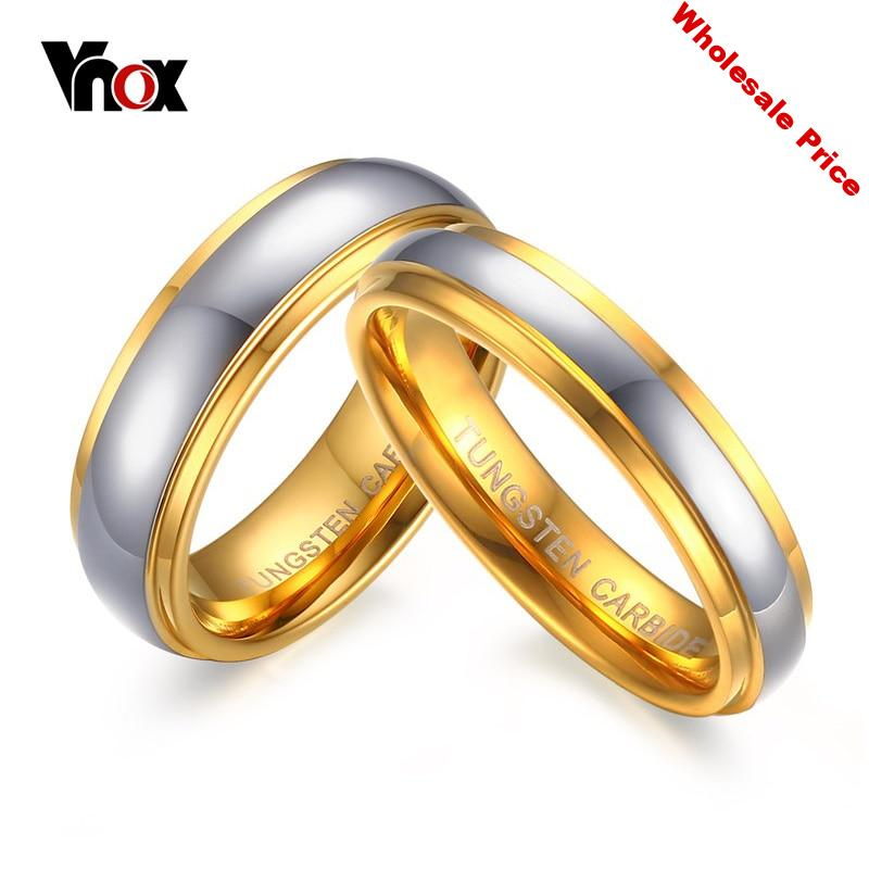 Vnox Jewelry His & Her's Polishing Center Step Edge Tungsten Carbide Wedding Band Ring for Woman Men 6MM/4MM Price for 1Pce