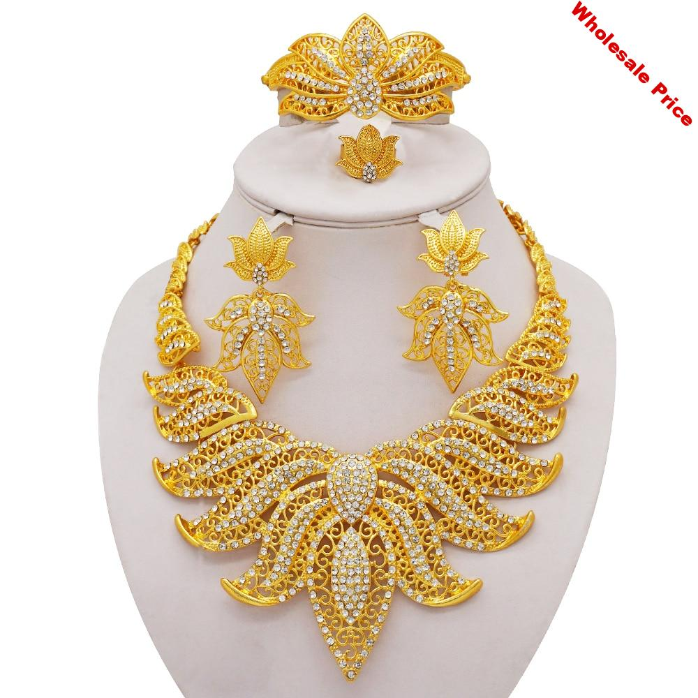 African Jewelry Sets Fashion gold Leaves Shape Crystal Necklace Bracelet Ring Earring Bridal Wedding Jewelry Accessories