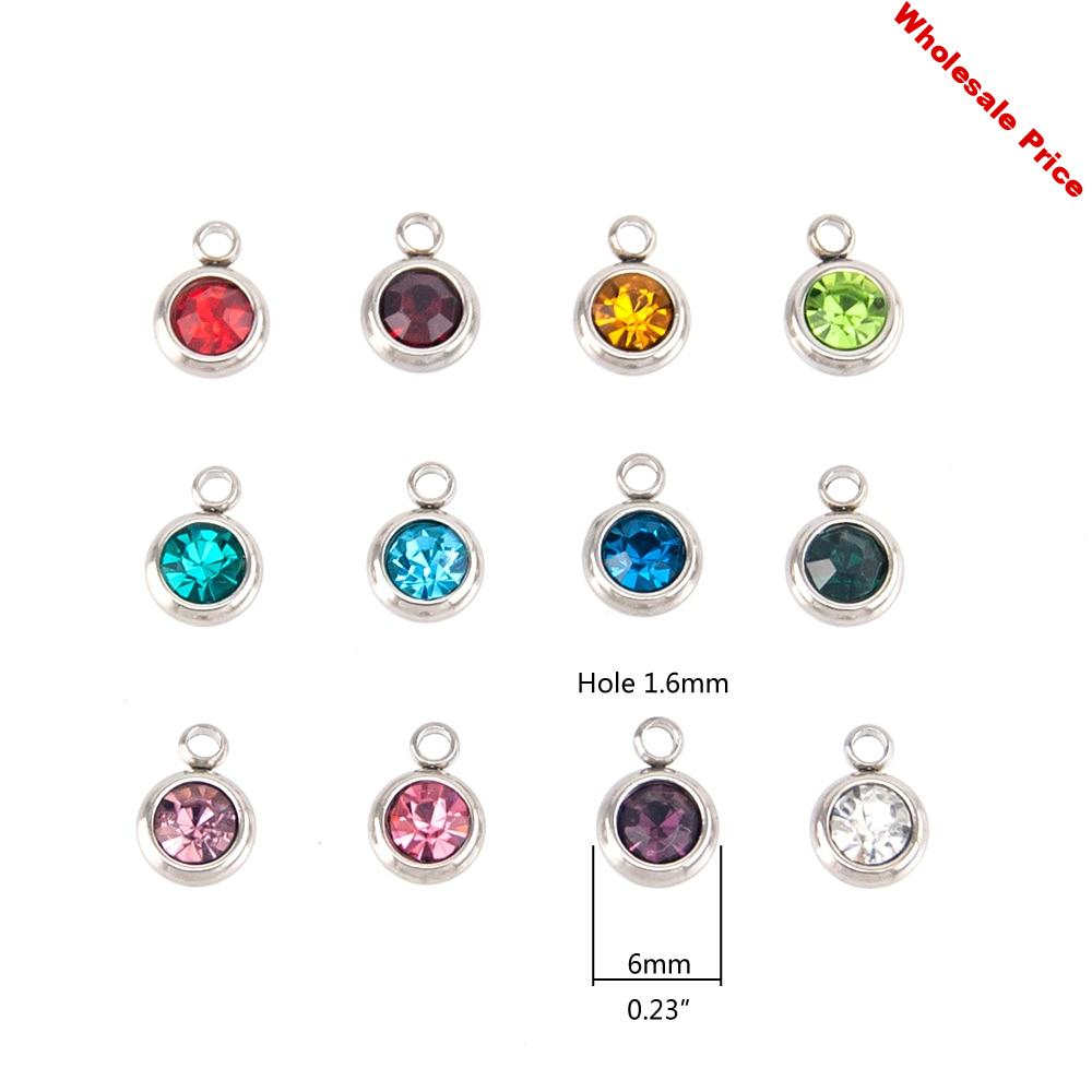 6mm Birthstone Charms For Jewelry Stainless Steel Colorful Crystal Pendant Pierre Naissance Geboortestenen Wholesale 60pcs/lot