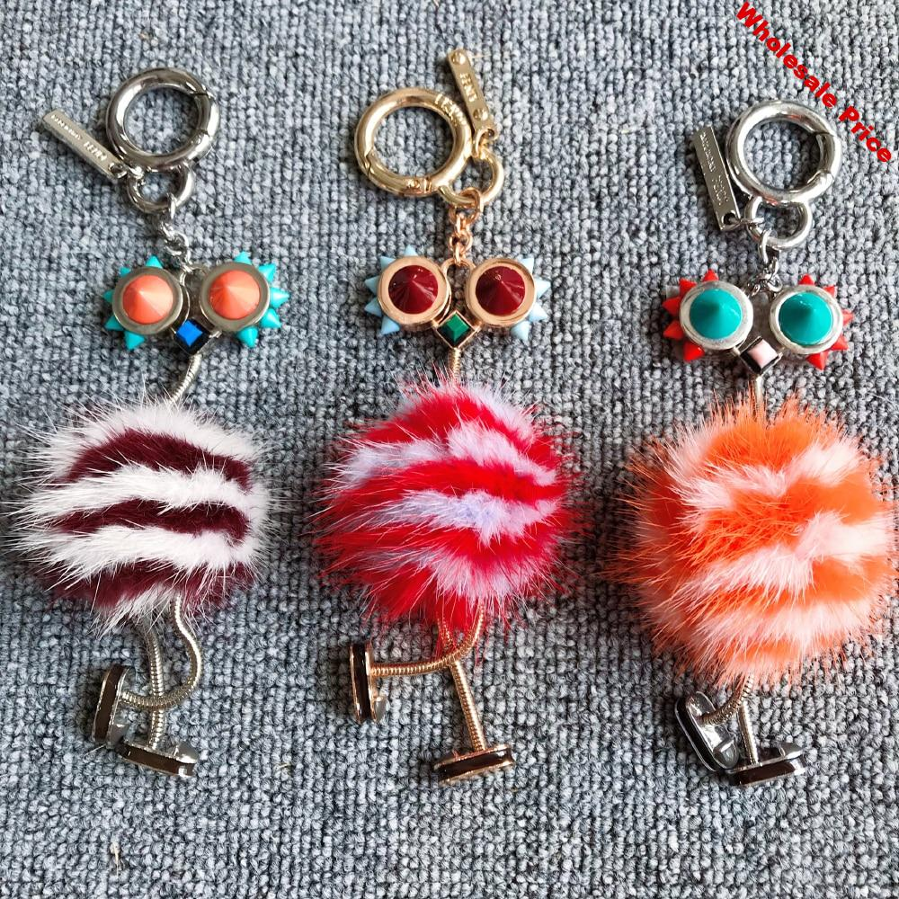 Personality Keychain Luxury Real Mink Fur robot Keyring For Women's Car Trinkets Charm Bag Pendant Accessories Chains