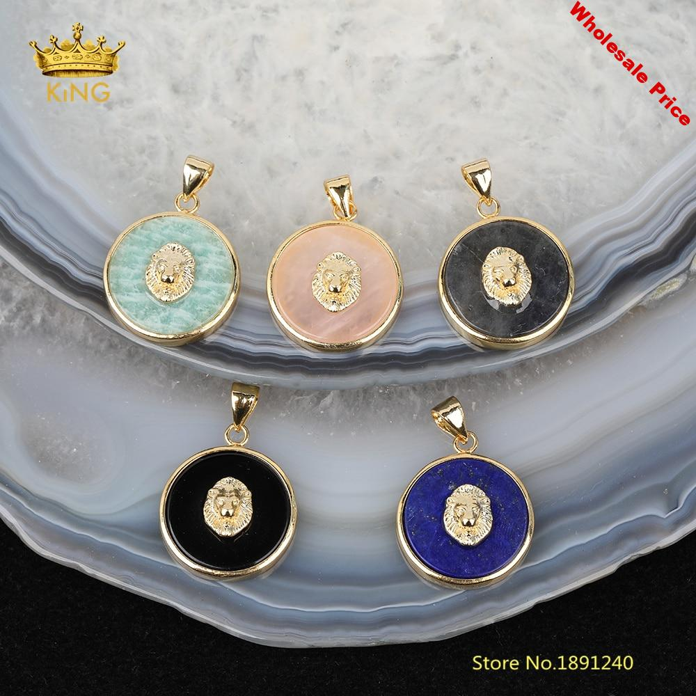 5pcs Coin Stones Pendants for Jewelry Making