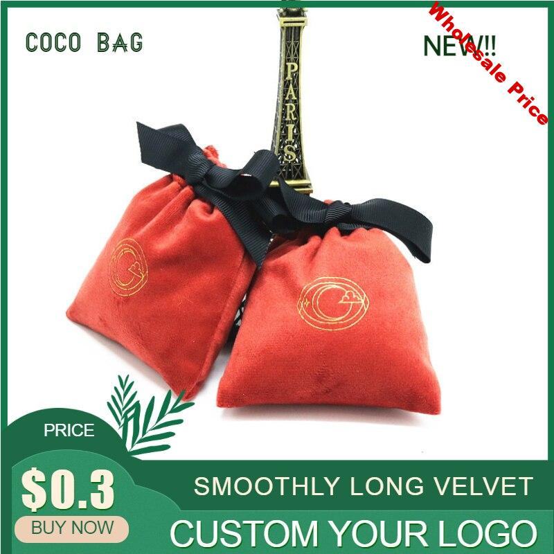 50pcs/lot Silk Velvet Jewelry Packaging Bags Eco-Friendly Flannel Packing Bag Ribbon Drawstring Gift Pouches Custom Logo