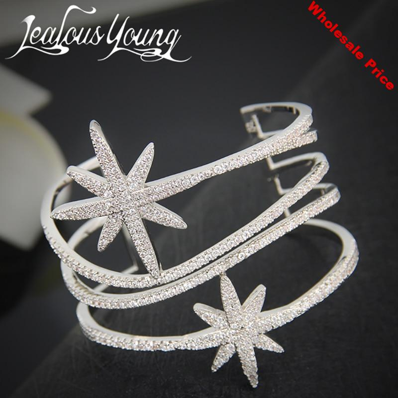Luxury Star Design Cuff Bangles With Top Quality Cubic Zirconia Cross Bracelet Femme For Gift Party Armbanden Voor Vrouwen AB015