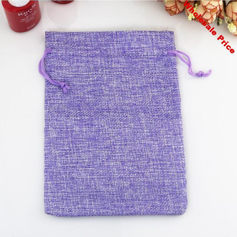 50pcs/lot Purple Jute Bag 7*9cm Small Drawstring Gift Bag Pouches Wedding Decoration Charms Jewelry Packaging Bag Linen Bags