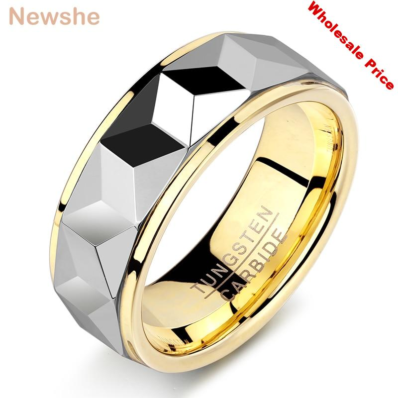 Newshe Mens' Wedding Band 8mm Tungsten Carbide Yellow Gold Gray Color Size 8-12 Fashionable Jewelry Rings For Men