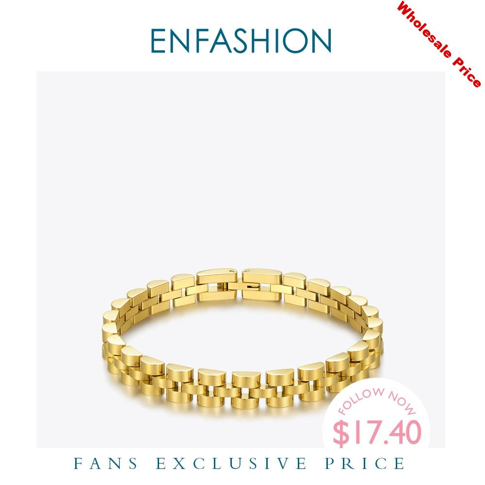 ENFASHION Punk Watchband Bracelets For Women Stainless Steel Gold Color Armband Bangles 2020 Fashion Jewelry Friends Gifts B2165