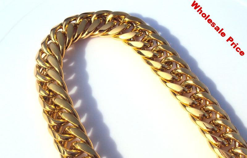 Heavy MENS 24K SOLID GOLD GF FINISH THICK MIAMI CUBAN LINK NECKLACE CHAIN 11mm 118G  7 days no reason to refund