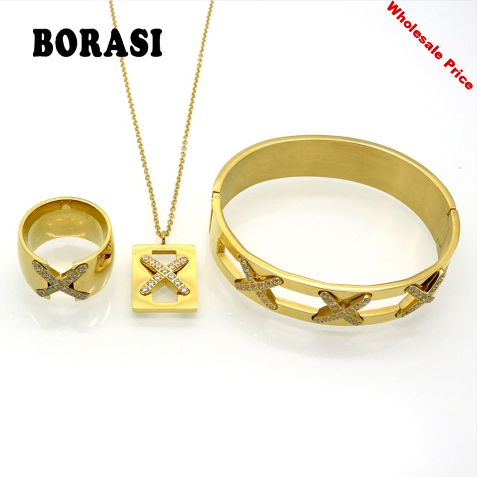 New Arrival Luxurious X Cross Crystal Bracelet Necklace Ring Sets Bridal Wedding Party Fine Jewelry Set Pendientes Mujer Bijoux