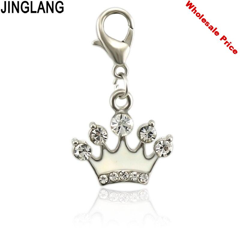 JINGLANG Sparkling Cartoon Enamels Crown Icon Charm Gifts With Fits Necklace Diy Fine Jewelry Accessories 50 pcs