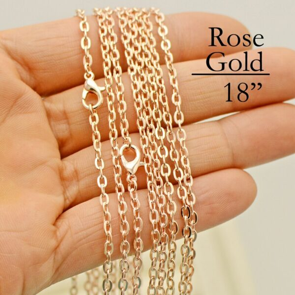 100 - 18 inch Rose Gold Link Chain