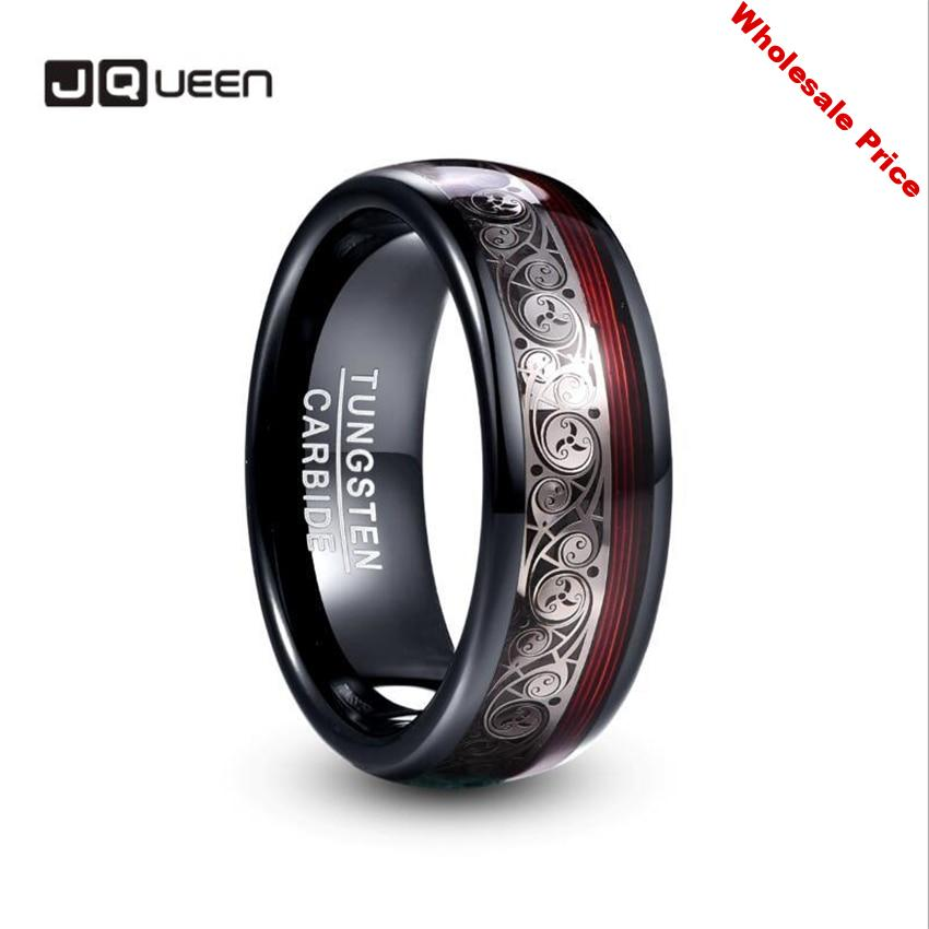 JQUEEN 8mm Wide Tungsten Steel Ring Plating Black Inlay Triple Spiral Pattern+Red Guitar String Tungsten Carbide Ring hot sell