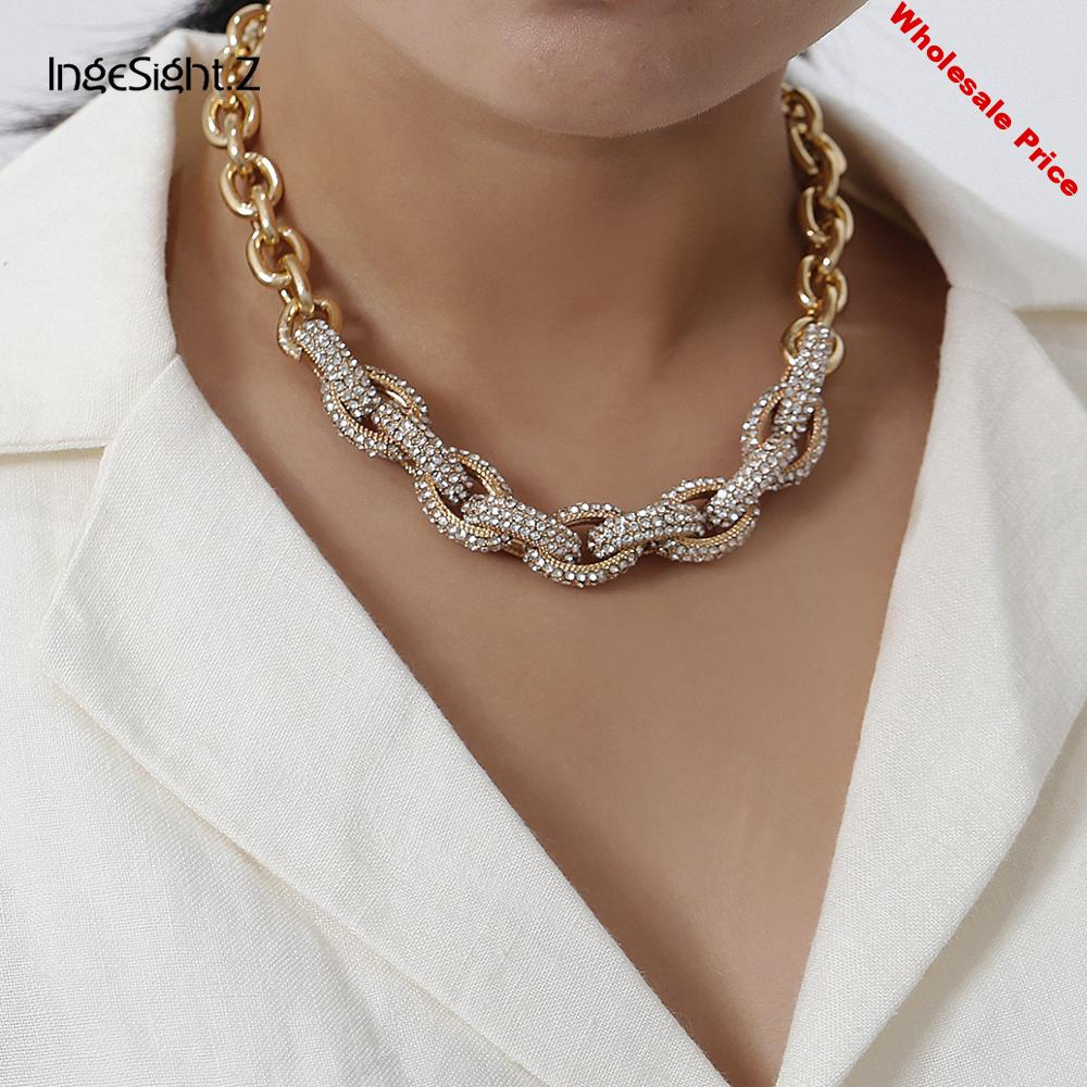 IngeSight.Z Luxury Bling Rhinestone Choker Necklace Punk Hip Hop Miami Curb Cuban Chunky Thick Chain Necklaces for Women Jewelry