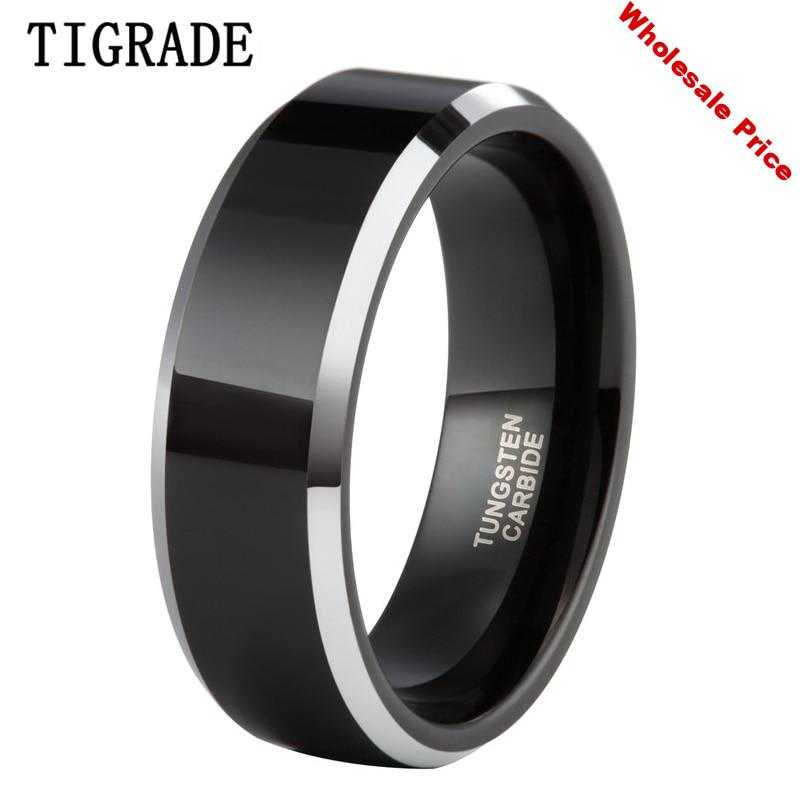 Tigrade 8mm Mens Engagement Ring Wedding Couple Band Jewelry Black Tungsten Carbide Ring High Polished pierscionki