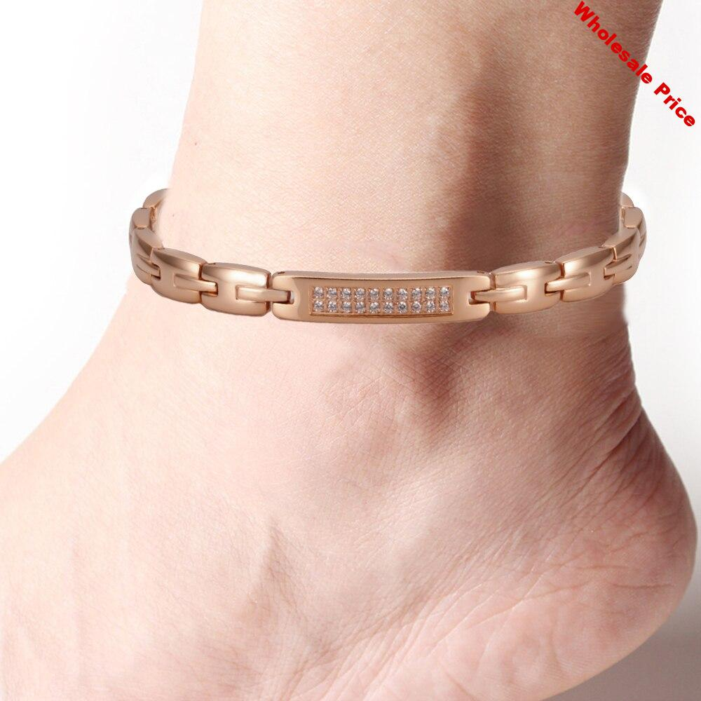 Wollet Body Jewelry 99.999% Germanium Magnetic Stainless Steel Anklet for Women Men CZ Stone Hematite Health Energy Pain Relief