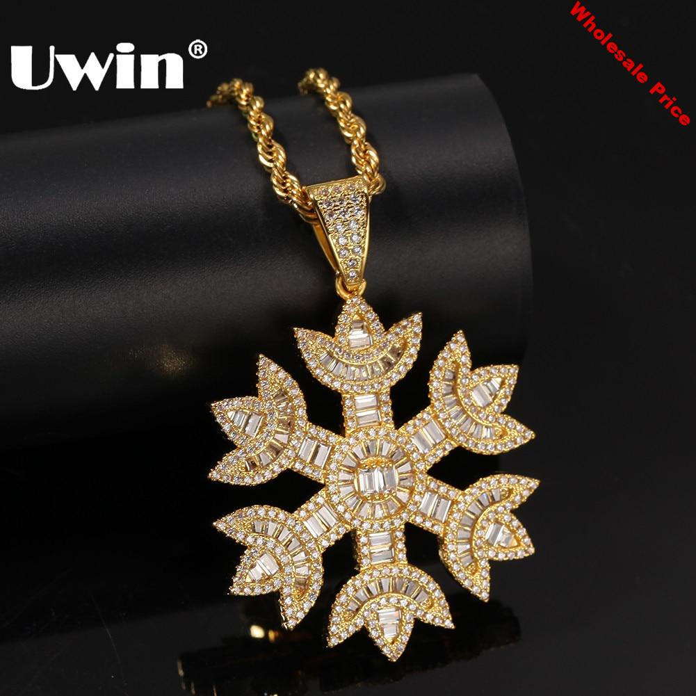 UWIN Fashion Men Women Baguette Snow Shape Pendant Necklace Gold Color Iced Bling Bling Cubic Zirconia Hiphop Jewelry