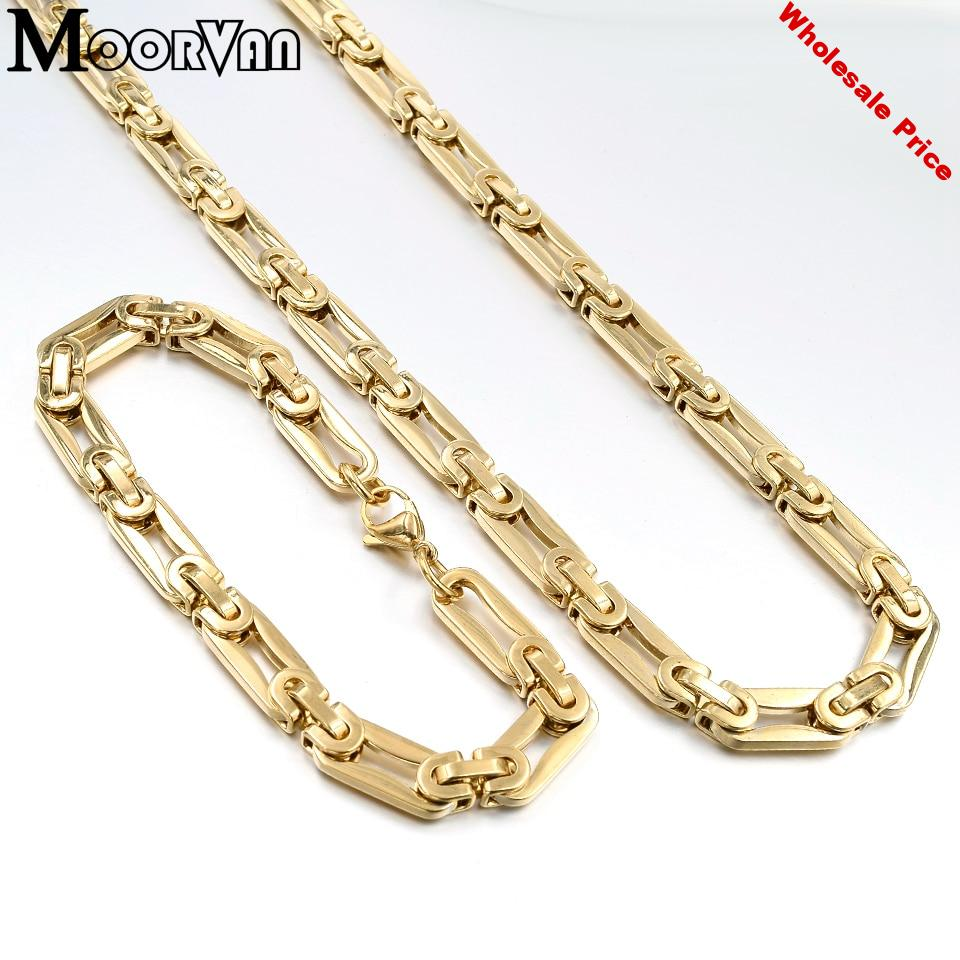 2pc bracelet necklace set stainless steel new style 8mm wide rock men jewelry sets unisex link chain