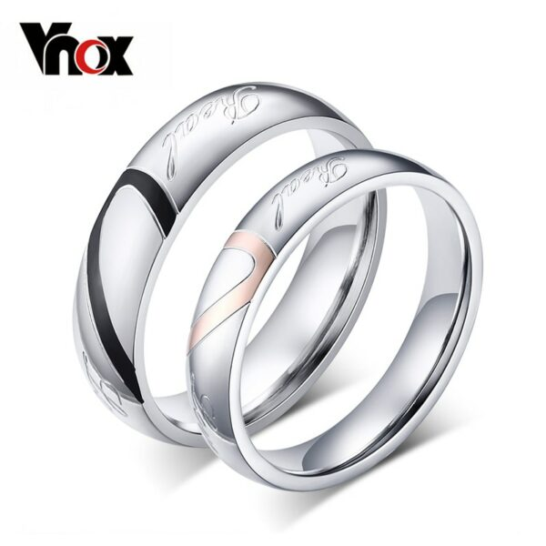10pcs/lots Wholesale Couple Wedding Rings Love Heart Puzzle Stainless Steel Material Promise Mix Size