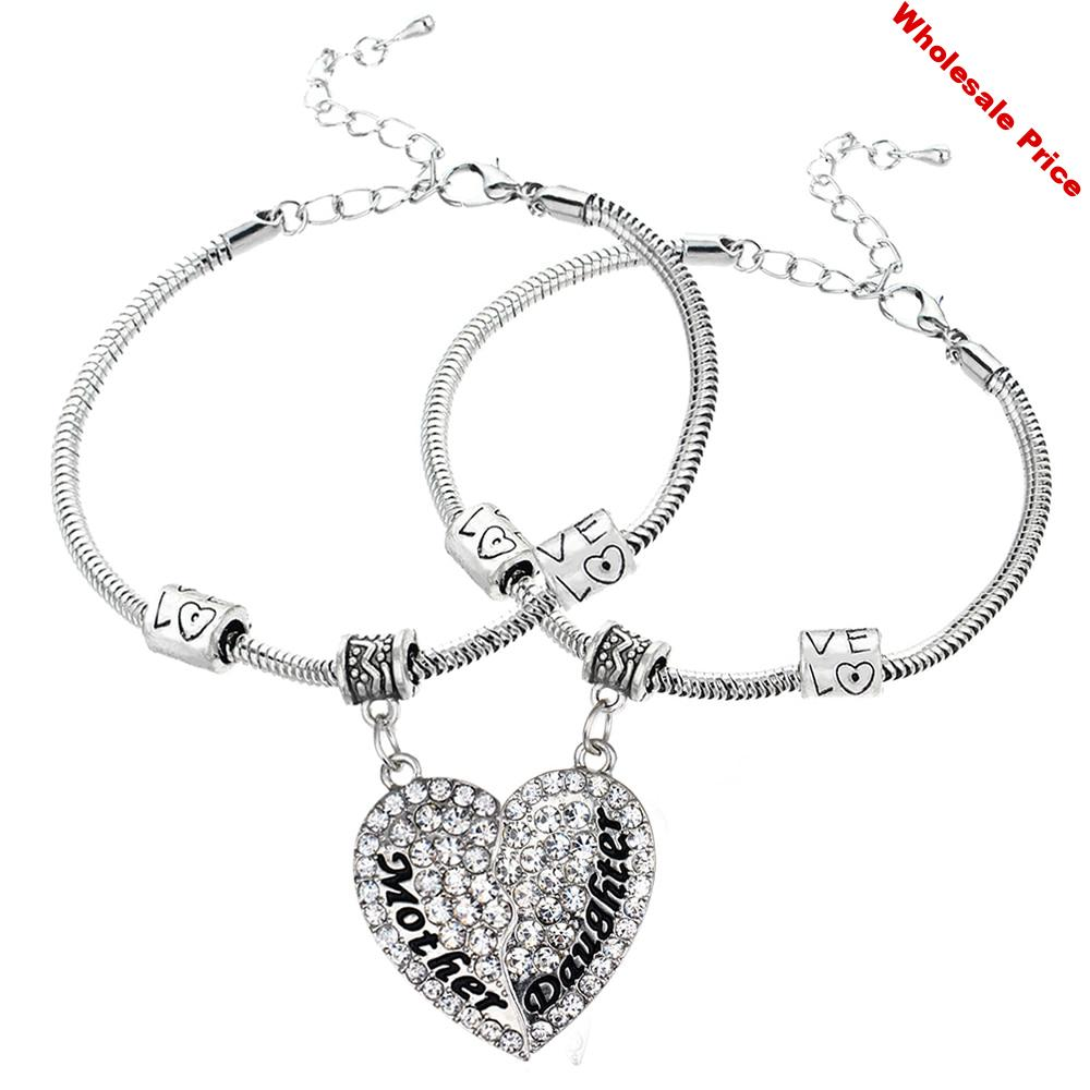 12PC Mother & Daughter Splicing Puzzle Heart Clear Crystal Pendant Bracelets Family Women Girl Mom Xmas Gifts Love Beads Chain